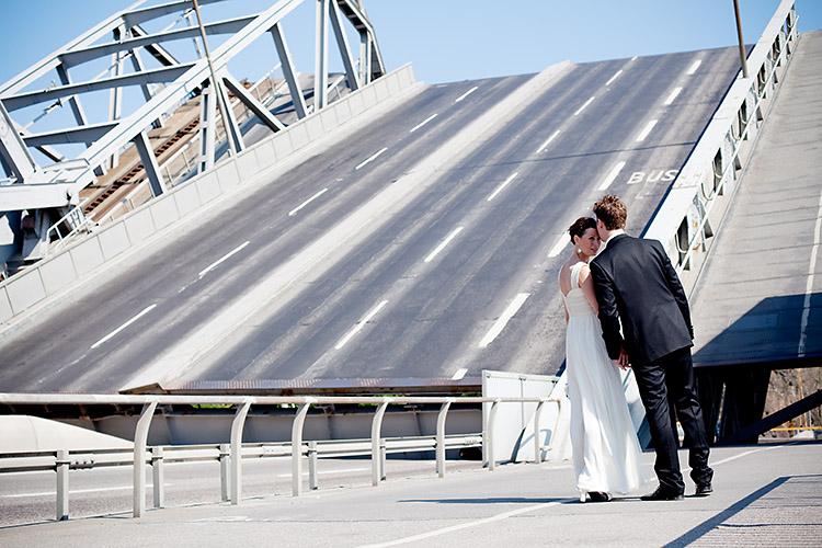 Broöppning och bröllop i Danvikstull, Stockholm