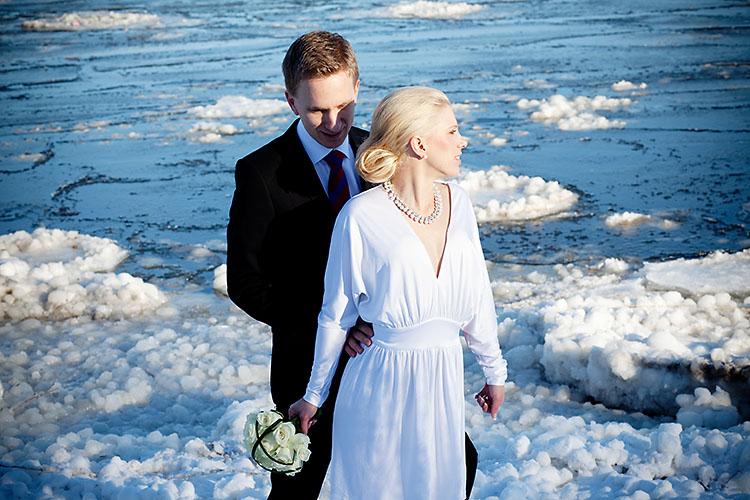Vinterbröllop med snö och is på Djurgården