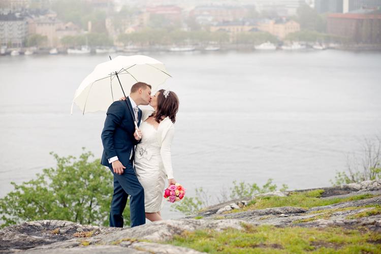 Bröllopsfotografering i regn