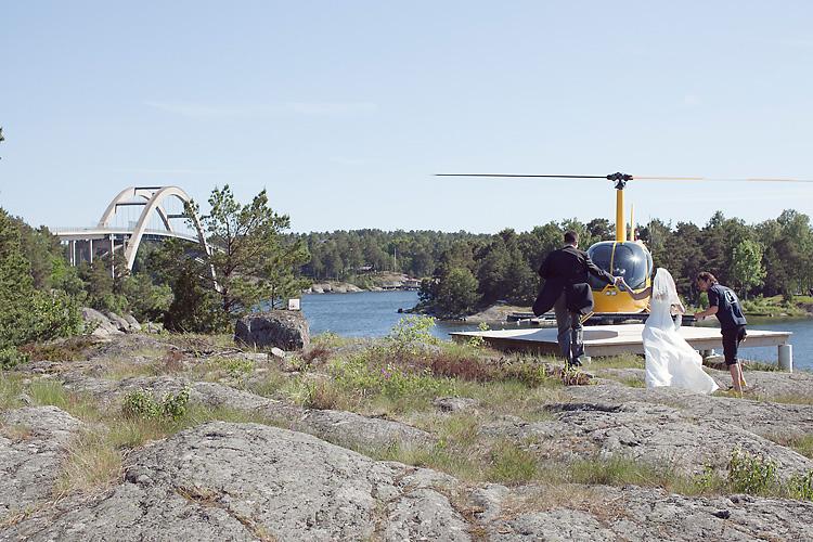 brudpar helikopter Stockholm