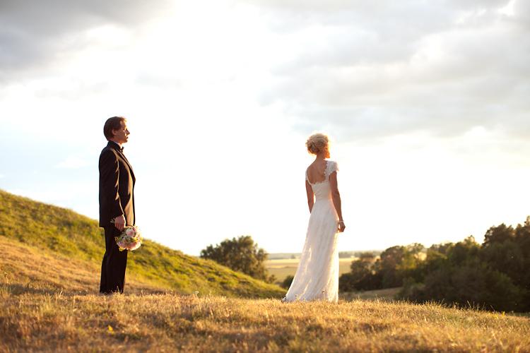 fotografering bröllop i kvällssol