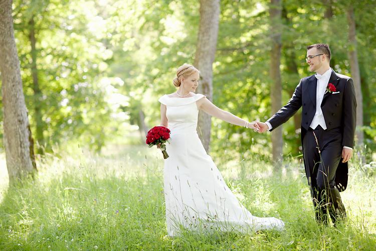 Fotografering av brudpar vid Svartsjö Slott