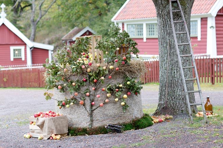 Tjolöholm Slott i Göteborg dekorationer med äpplen utanför mor Amandas stuga