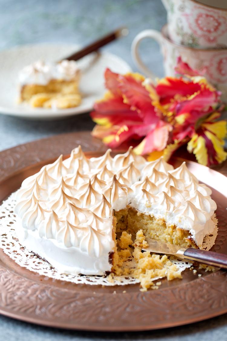 Fotografering kaka med maräng