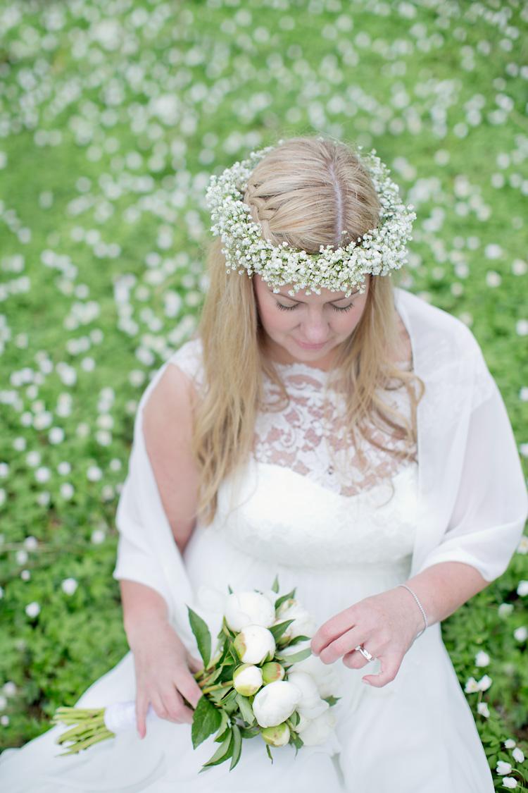 krans vit bukett bröllop