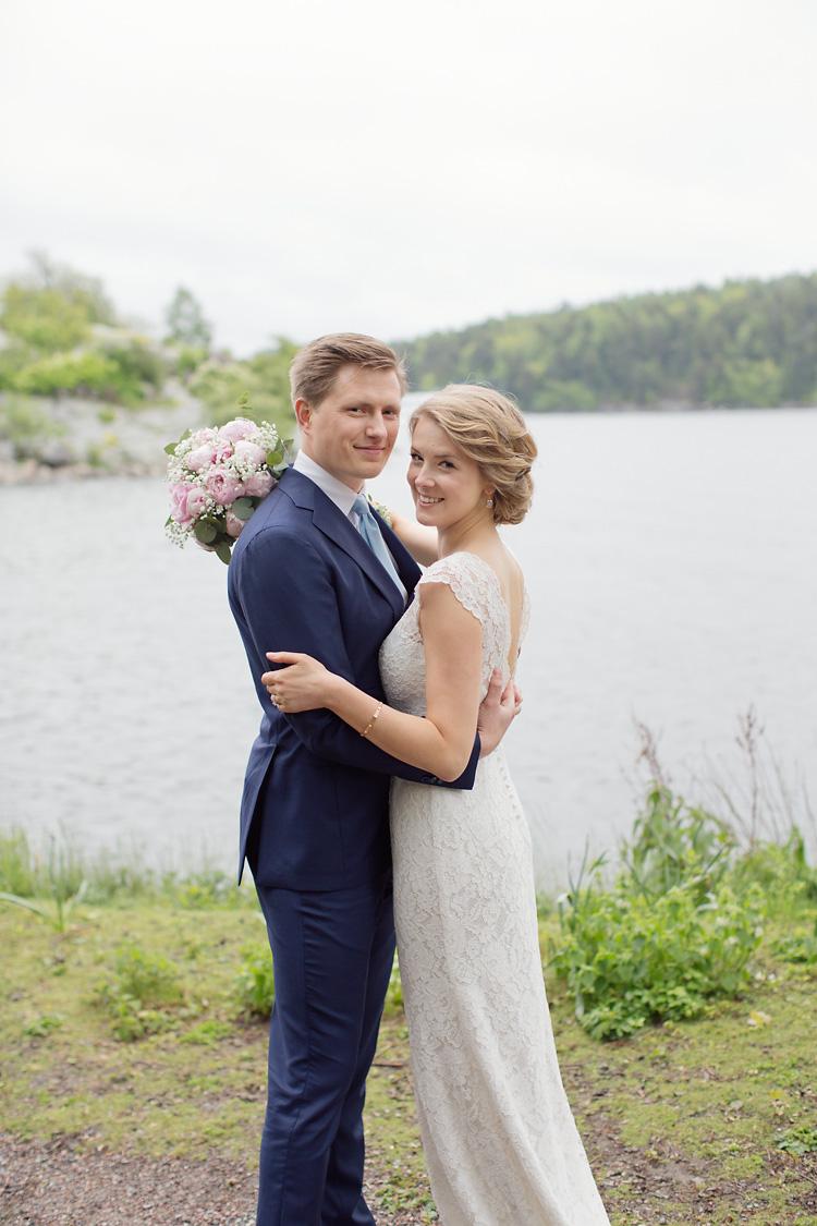 Brudpar på Fjäderholmarna i Stockholms skärgård