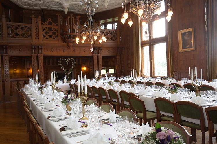 Bröllopsdukning middag Tjolöholm