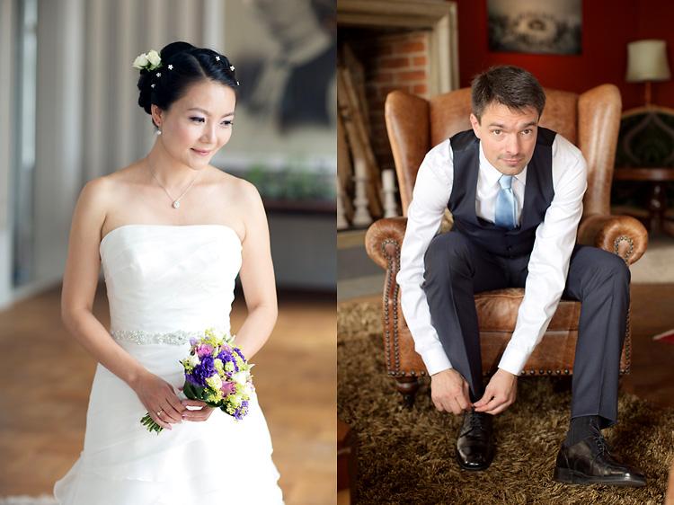 asiatisk brud och italiensk brudgum